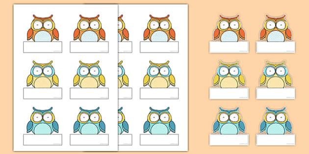 Cute Owl Themed Self-Registration Labels - cute owl, self-registration, labels, display
