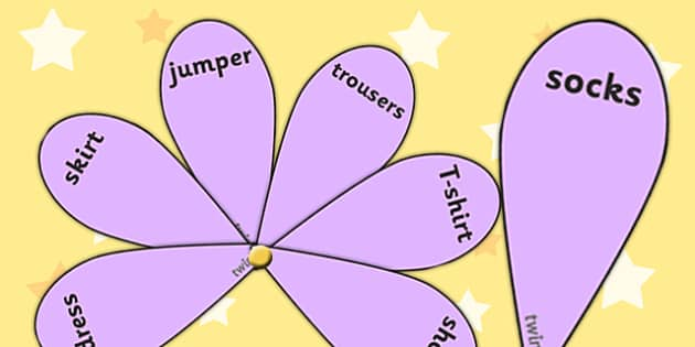 EAL Clothes with English Word Fans - EAL, clothes, english, word fans, word fan, EAL words, literacy, reading, english words, fan of words, compehension