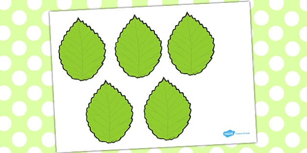 Five Little Leaves Counting Song Cut Outs - counting, song, cut