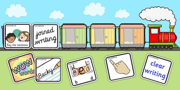 Editable Writing Target Cards Train - writing targets, writing target cards, editable, trains, editable trains, editable writing targets, editable targets