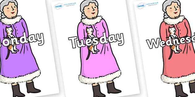 Days of the Week on Mrs Clause to Support Teaching on The Jolly Christmas Postman - Days of the Week, Weeks poster, week, display, poster, frieze, Days, Day, Monday, Tuesday, Wednesday, Thursday, Friday, Saturday, Sunday