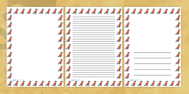 Pirate Parrot Portrait Page Borders Portrait Page Borders – Border Paper Template