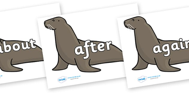 KS1 Keywords on Sealions - KS1, CLL, Communication language and literacy, Display, Key words, high frequency words, foundation stage literacy, DfES Letters and Sounds, Letters and Sounds, spelling