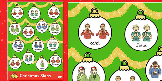 Large Christmas British Sign Language Posters - christmas, signs