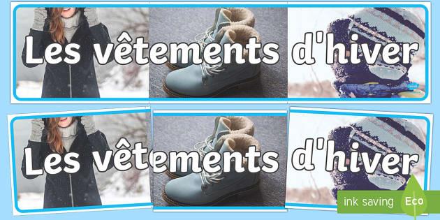 Photos de vêtements d'hiver Banderole d'affichage - Hiver, winter, vêtements, clothes, photos, banderole, affiche, affichage, panneau ,French