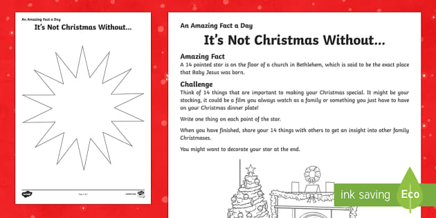 Amazing Fact a Day KS2 Countdown to Christmas Day 25 Its not Christmas without Activity Sheet - Amazing Fact Of The Day, activity sheets, powerpoint, starter, morning activity, December, Christmas