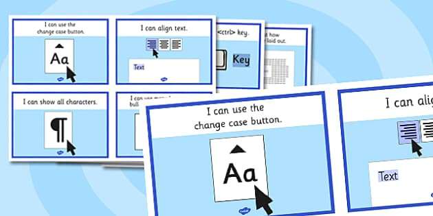 Word Processing Skills Help Cards - word processing skills, help, cards