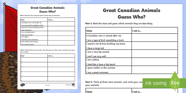 Great Canadian Animals - Guess Who? Activity Sheet - Great Canadian Animals, activity, game, guess, who, Canada, animals, matching, worksheet