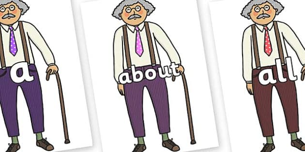 100 High Frequency Words on Little Old Man - High frequency words, hfw, DfES Letters and Sounds, Letters and Sounds, display words