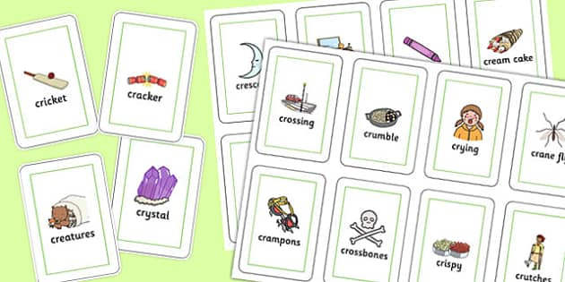 Two Syllable CR Playing Cards - two syllable, cr, playing cards, play, cards, sound, cr sound
