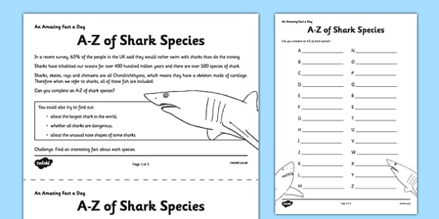 A-Z of Shark Species - shark, home education, fact of the day, species