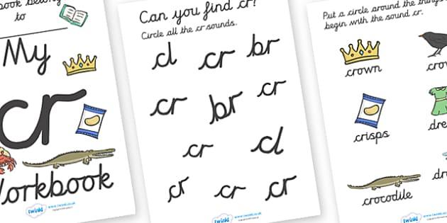 My 'cr' Letter Blend Workbook (Cursive) - workbook, cr, letters, blend, alphabet, activity, handwriting, blends, letter, letter blends