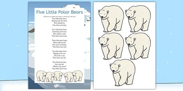 5 Little Polar Bears Rhyme - winter, arctic, Antarctic, polar, polar bears, rhyme