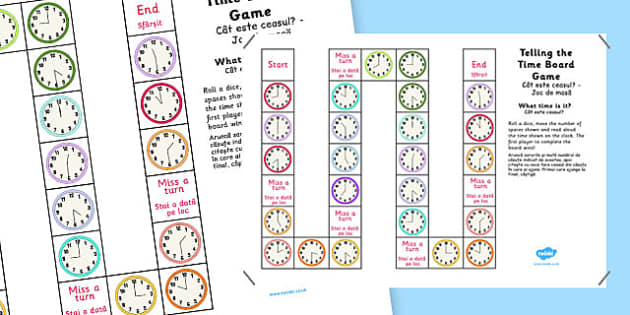 Telling The Time Board Game KS1 O'clock and Half Past Romanian Translation - romanian, telling the time, board game, ks1, o'clock, half past