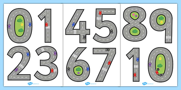 Road Themed Display Numbers 0-20 - display, numbers, 0-20, road