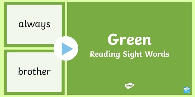 New Zealand Green Reading Sight Words PowerPoint - Literacy, Reading, Green, Sight Words, Colour Wheel, nz, new zeland, english, ppt, slideshow