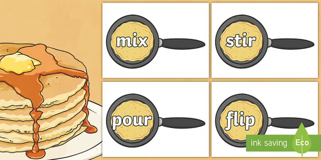 Imperative Verbs on Pancakes - imperative verbs, pancake, display, instructions