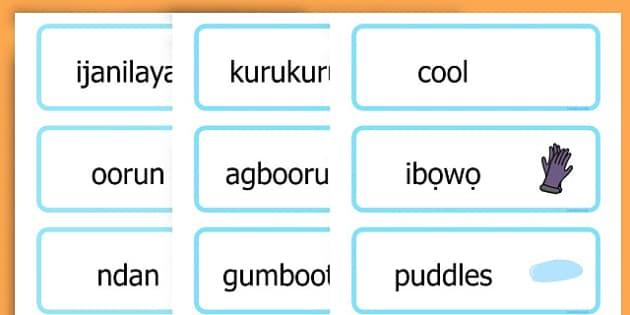Winter Word Cards - seasons, weather, key words, visual aids  - Yoruba