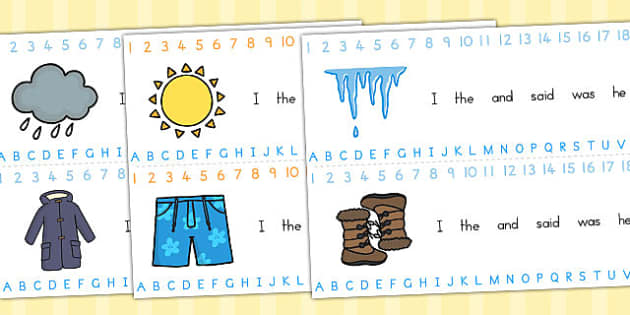 Winter Combined Alphabet Number Strips - seasons, weather, strips