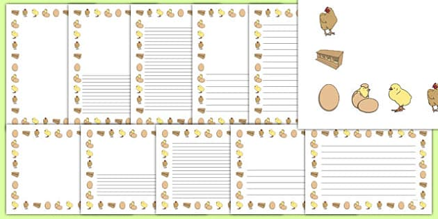 Hen Life Cycle Full Page Border Portait - page border, border, frame, writing frame, writing template, hen lifecycle page borders, hen lifecycle writing frames, hen, writing aid, writing, A4 page, page edge, writing activities, lined page, lined page