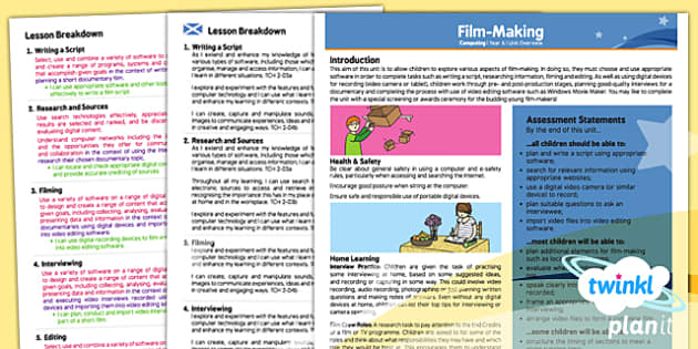 PlanIt - Computing Year 6 - Film Making Planning Overview CfE - PlanIt, computing, film making, editing