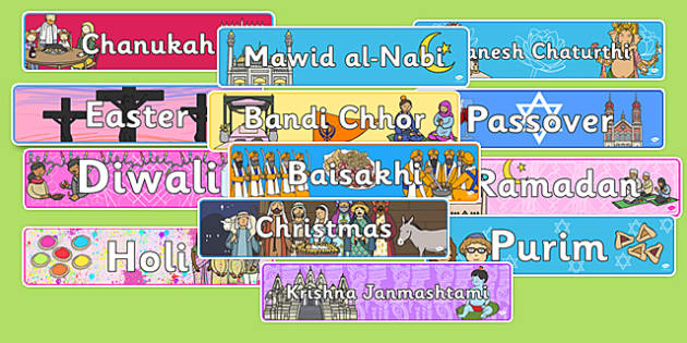 Religious Celebrations Display Banner Pack - religion, religions, cards, word cards, flashcards, wordcards, bible, Qur'an, Torah, Gita, Christianity, Islam, Judaism, Hinduism, Sikhism, Guru, Granth Sahib