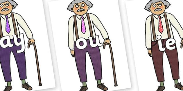 Phase 5 Phonemes on Little Old Man - Phonemes, phoneme, Phase 5, Phase five, Foundation, Literacy, Letters and Sounds, DfES, display