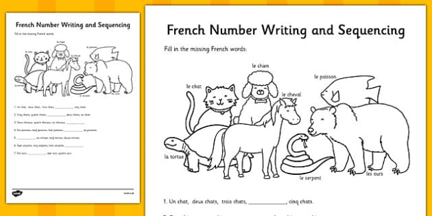 French Number Sequences Worksheet - france, languages, EAL, count