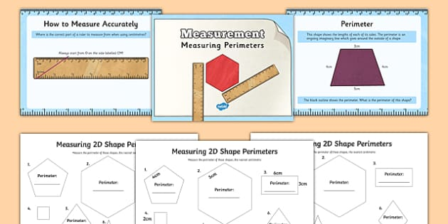 Measuring the Perimeter of D Shapes Powerpoint Task Setter and Worksheets