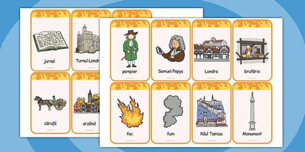 Marele Foc al Londrei - flashcards, cultura, istorie, engleză, Romanian