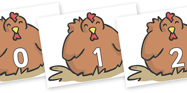 Numbers 0-50 on Chickens - 0-50, foundation stage numeracy, Number recognition, Number flashcards, counting, number frieze, Display numbers, number posters