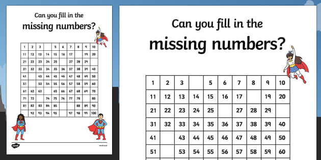 Superhero Themed Missing Numbers 100 Square Activity Sheet - superhero, superheroes, missing numbers, number square, 100, worksheet