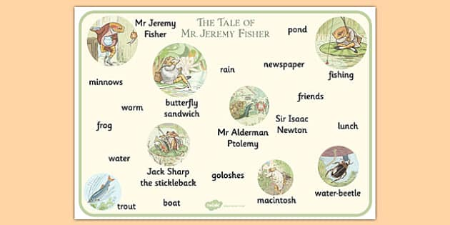Beatrix Potter - The Tale of Mr Jeremy Fisher Word Mat - beatrix potter, mr jeremy fisher