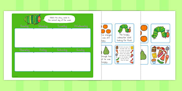 Days of the Week Matching Game to Support Teaching on The Very Hungry Caterpillar - australia