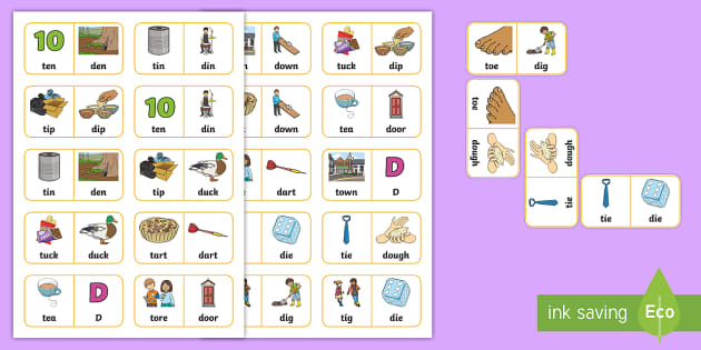 't' and 'd' Minimal Pair Dominoes  - pre-vocalic voicing, dyspraxia, minimal pairs, phonology, articulation, plosives, speech sounds, sal