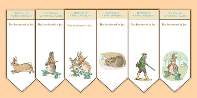 Beatrix Potter - The Story of a Fierce Bad Rabbit Editable Bookmarks - beatrix potter, fierce, bad, rabbit