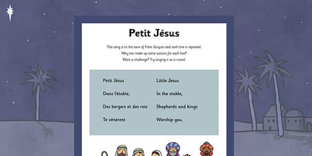 French Petit Jésus Song - french, petit jesus, song, lyrics, language, francais
