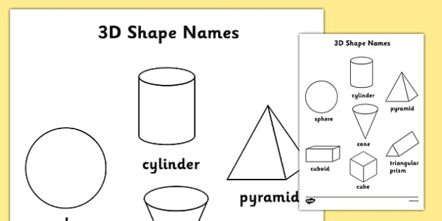3D Shapes Words Colouring Sheets - 2D, shape, colouring, wet play, 3D shape, cylinder, sphere, pyramid, cone, cuboid, rectangular prism, cube, triangular prism