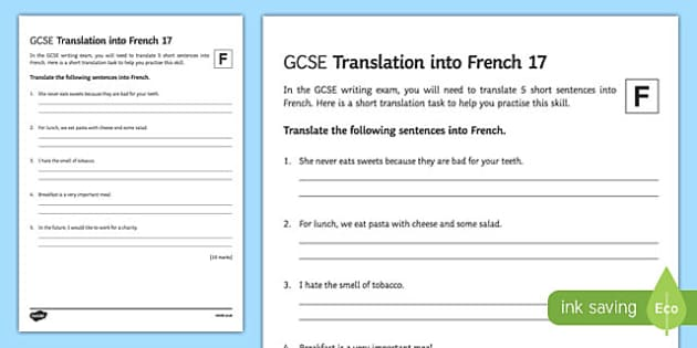 GCSE French: Translation into French - Foundation Tier Activity Sheet 17-French, worksheet