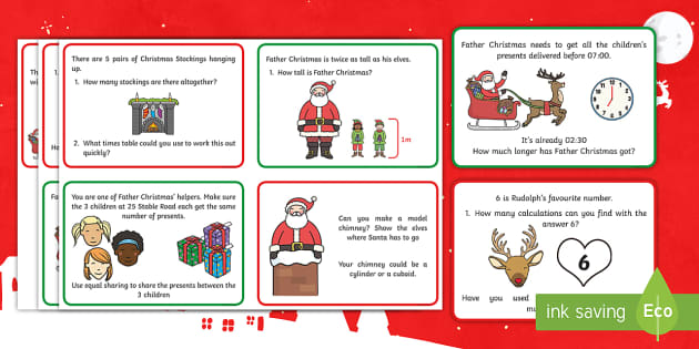 Christmas Maths Challenge Cards - christmas, maths, challenge