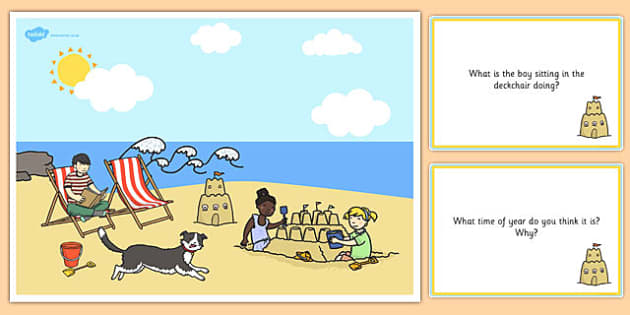 Seaside Scene and Question Cards - seaside, questions, comprehension pack