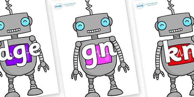 Silent Letters on Robots - Silent Letters, silent letter, letter blend, consonant, consonants, digraph, trigraph, A-Z letters, literacy, alphabet, letters, alternative sounds