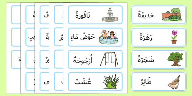Garden Word Cards Arabic Short Vowels - arabic, garden, word cards, word, cards, back garden, outside, short vowels