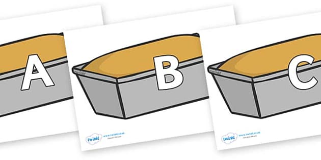 A-Z Alphabet on Bread Loaves - A-Z, A4, display, Alphabet frieze, Display letters, Letter posters, A-Z letters, Alphabet flashcards