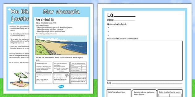 Mo Dhialann Óna Laethanta Saoire - gaeilge, holiday, scrapbook, diary, scrap book, book
