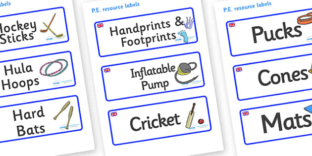 Great Britain Themed Editable PE Resource Labels - Themed PE label, PE equipment, PE, physical education, PE cupboard, PE, physical development, quoits, cones, bats, balls, Resource Label, Editable Labels, KS1 Labels, Foundation Labels, Foundation St