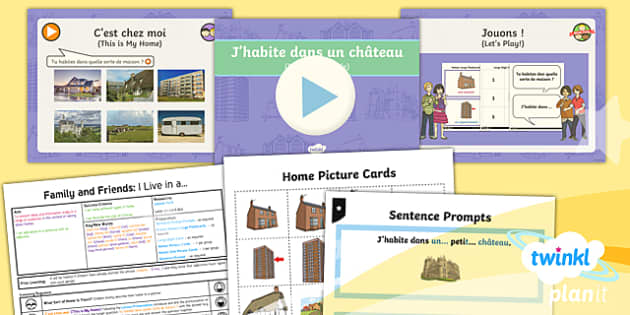 PlanIt - Year 5 French - Family and Friends Lesson 3: I Live In a...  Lesson Pack - french, languages, grammar, home, house, describe, adjective, live,French