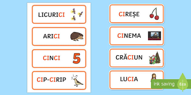 Grupul de litere ci Cartonașe cu cuvinte ilustrate