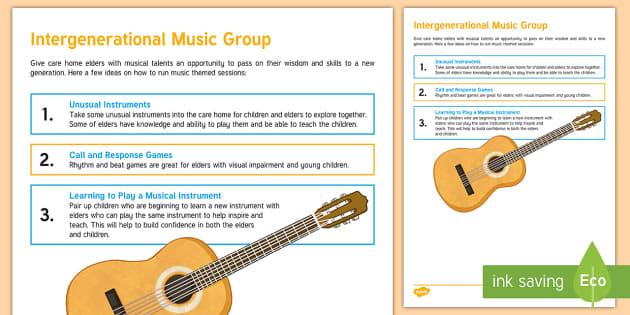 Intergenerational Music Group Teaching Ideas - Intergenerational Ideas, Ideas, Music, Instruments, Mentoring, Teachers, Schools, Community, Elderly