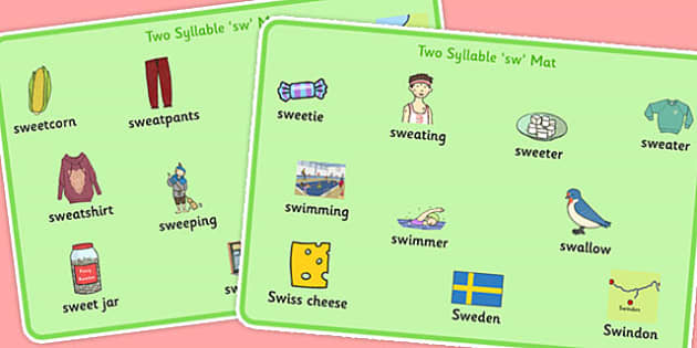 Two Syllable 'SW' Word Mats - sw sound, syllable, word mats
